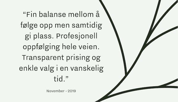 Tilbakemelding begravelsesbyrå_Oslo_November19_2